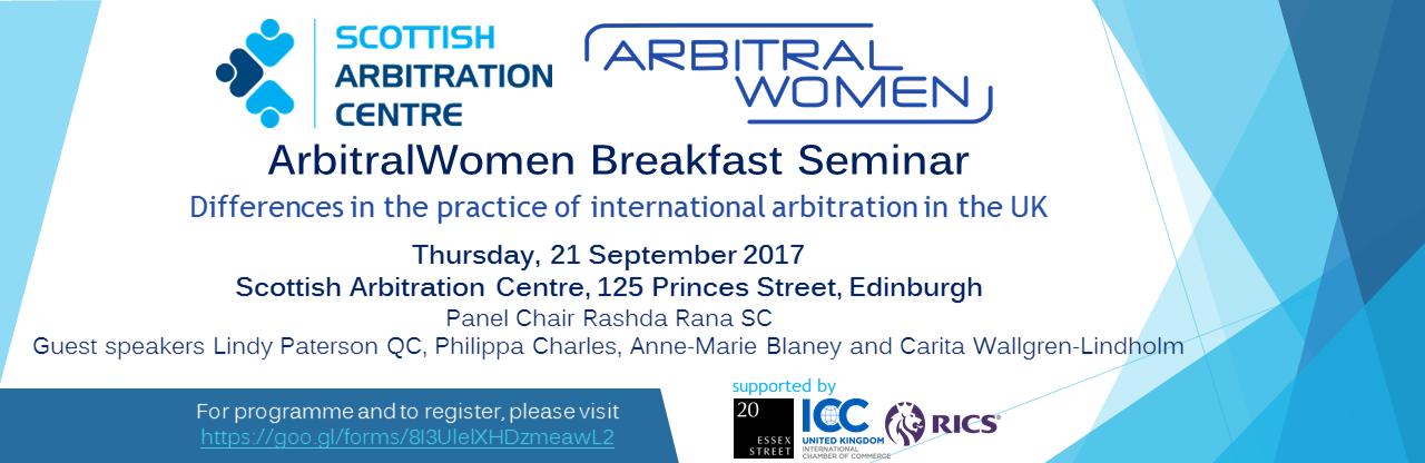 ArbitralWomen Breakfast Seminar banner
